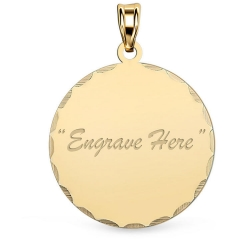 14K Yellow Gold Round with Diamond Cut Pendant