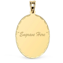 14K Yellow Gold Oval with Diamond Cut Pendant