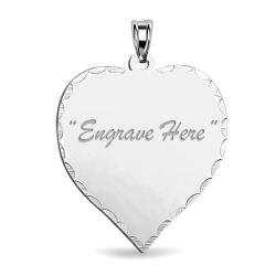 14K White Gold Heart with Diamond Cut Pendant