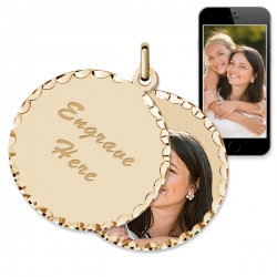 Yellow Gold Round Swivel Photo Pendant