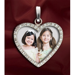 New  Diamond Heart Photo Pendant Picture Charm