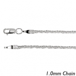 14K White Gold 1 0mm Classic Wheat Chain