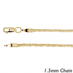 14K Yellow Gold 1 5mm Wheat Chain
