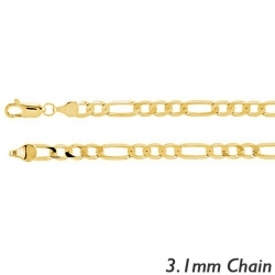 14K Yellow Gold 3 1mm Figaro Link Chain