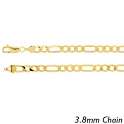 14K Yellow Gold 3 8mm Figaro Link Chain