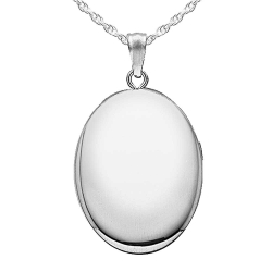 Sterling Silver Oval  Plain   Picture Locket