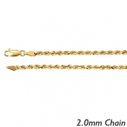 14K Yellow Gold 2 0mm  Diamond Cut Round Rope Chain