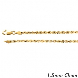 14K Yellow Gold 1 5mm Diamond Cut Round Rope Chain