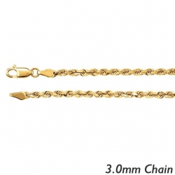 14K Yellow Gold 3 0mm Diamond Cut Flex Rope Chain