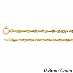 14K Yellow Gold  8mm Singapore Chain