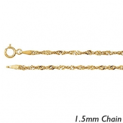 14K Yellow Gold 1 5mm Singapore Chain