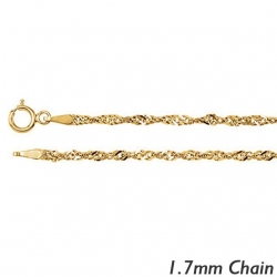 14K Yellow Gold 1 7mm Singapore Chain