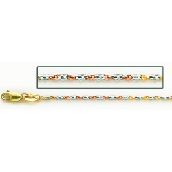 14K Yellow Gold Tri Color Raso Chain
