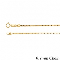 14K Yellow Gold  0 7mm Box Chain