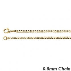 14K Yellow Gold 0 8mm Box Chain