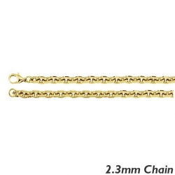 14K Yellow Gold 2 3 mm  Rolo Chain
