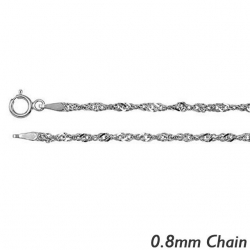 14K White Gold  8mm Singapore Chain