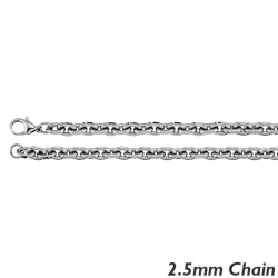 14K White Gold 1 8mm Rolo Chain