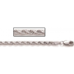 Sterling Silver Diamond Cut Rope Chain 3 50 MM Thick
