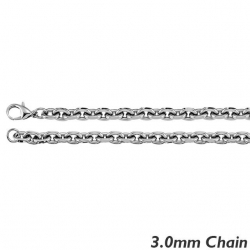 14K White Gold 3 0mm Rolo Chain