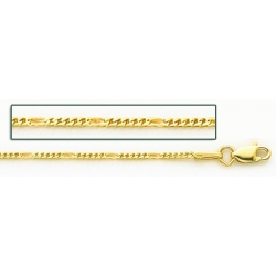 14K Yellow Gold Franco Figaro Chain
