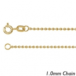 14K Yellow Gold 1 0mm  Bead Chain