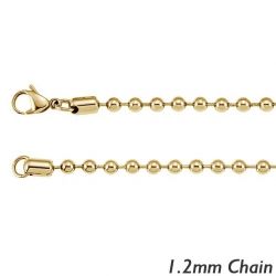 14K Yellow Gold 1 2mm Bead Chain