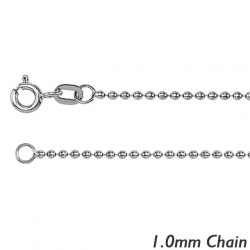 14K White Gold1 0mm  Bead Chain