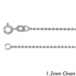 14K White Gold 1 2mm  Bead Chain