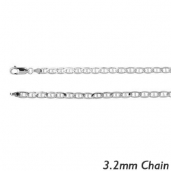 14K White Gold 3 2mm Diamond Cut Anchor Chain