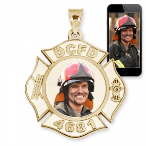 Firefighter Badge Photo Pendant Picture Charm with Name and Number