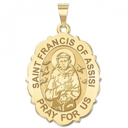 Saint Francis of Assisi Scalloped Medal   EXCLUSIVE