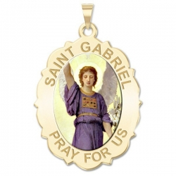 Saint Gabriel Scalloped Medal   Color EXCLUSIVE