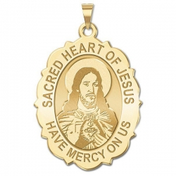 Sacred Heart of Jesus Scalloped Medal   EXCLUSIVE