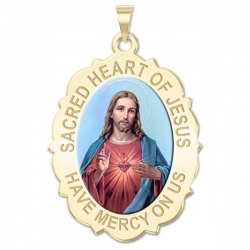 Sacred Heart of Jesus Scalloped Medal  Color EXCLUSIVE