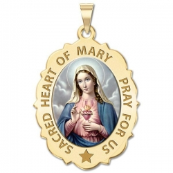 Sacred Heart Or Immaculate Heart of Mary Scalloped Medal