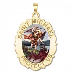 Saint Michael Scalloped OVAL Medal   Color EXCLUSIVE