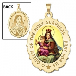 Scapular Medal Scallopped OVAL  Color EXCLUSIVE