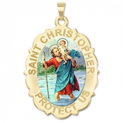 Saint Christopher Scallopped OVAL Medal   Color EXCLUSIVE