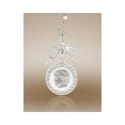 Round Shaped Framed Pendant w  Diamonds