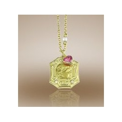Octagon Shaped Framed Pendant w  Diamonds   Pink Sapphire