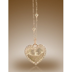 Heart Shaped Framed Pendant w  Diamonds