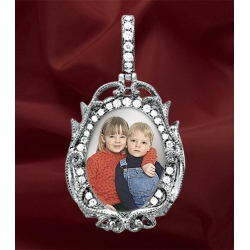 New  14K White Gold Diamond Oval Photo Pendant Picture Charm