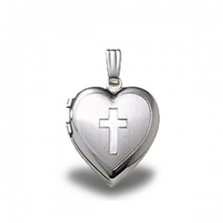Sterling Silver Heart  Cross  Small Locket