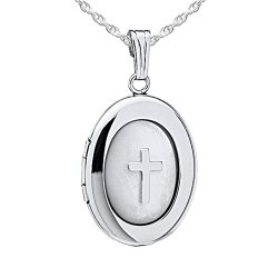 Sterling Silver Oval Mother of Pearl Cross Locket