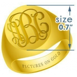 Round Classic Traditional Monogram Ring