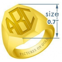 Octagonal Classic Traditional Monogram Ring