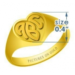 Heart Women s Embossed Monogram Ring