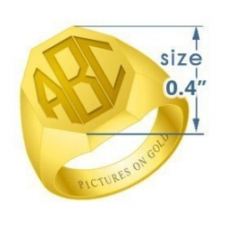 Boy s Octagonal Traditional Monogram Ring