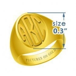 Oval Girls s Embossed Monogram Ring